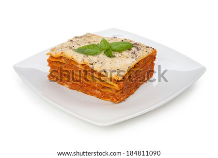 Tasty lasagna on a plate isolated on white background - stock photo