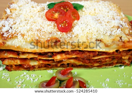 tasty lasagne on plate close up