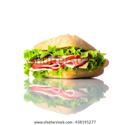 Tasty looking Sandwich Burger isolated on white Background