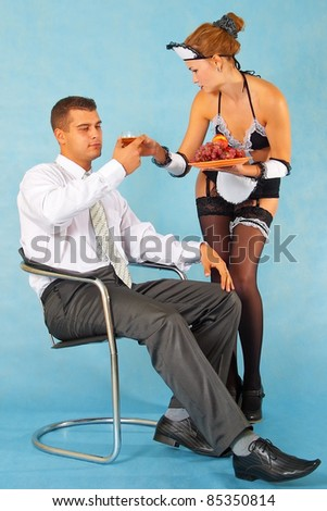 Tasty lunch of business man with his maid