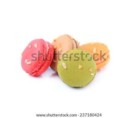 Tasty macaron isolate on white background - stock photo