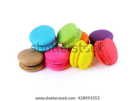 Tasty macaron isolate on white background