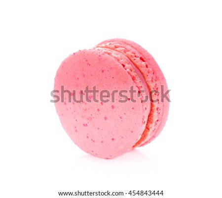 Tasty macaroon isolate on with background , Macaron dessert with strawberry flavour.