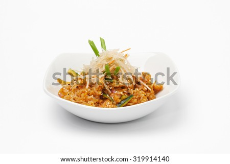 Tasty meal on white plate. - stock photo