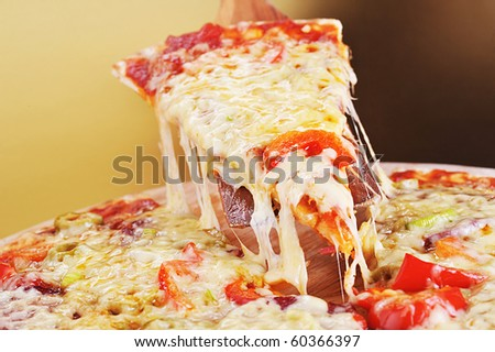 tasty meat and vegetables pizza - stock photo