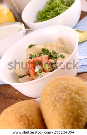 tasty meat chops with salad - stock photo