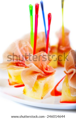 Tasty meat with pineapple slices on white. - stock photo