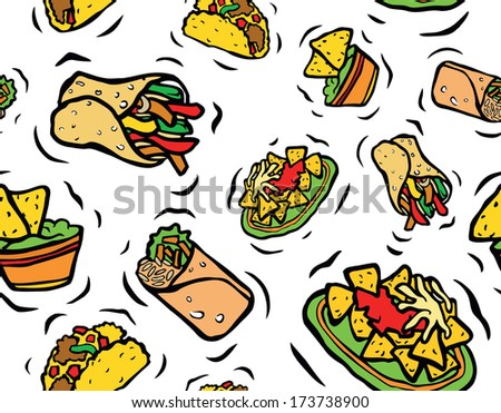 Tasty Mexican Food Seamless Pattern - stock photo