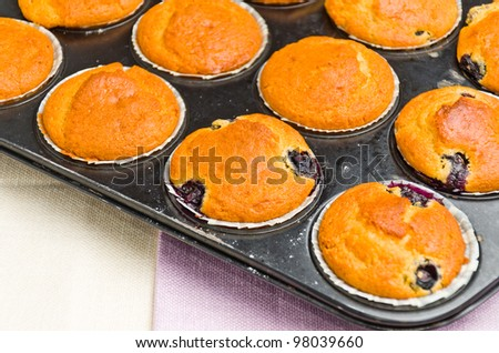tasty muffins in an griddle - stock photo