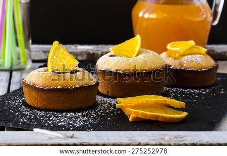 Tasty muffins with berries and orange juice