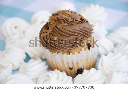 Tasty muffins with chocolate cream decorated with sugar candies in a blue checkered tablecloth  and meringue - stock photo