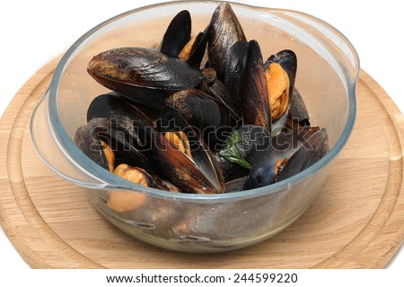 tasty mussels cooked in wine - stock photo