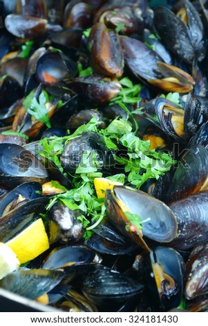 Tasty mussels cooked with parsley