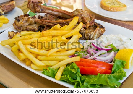 Tasty mutton meat and french fries