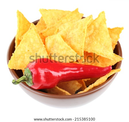 Tasty nachos  on color bowl, isolated on white - stock photo