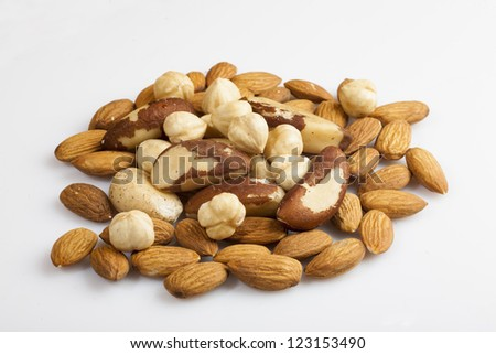 tasty nuts isolated on white - stock photo