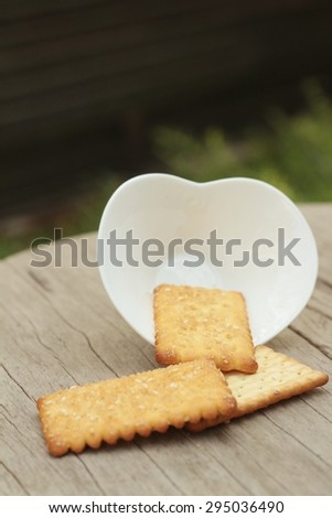 Tasty of crackers on a wood table