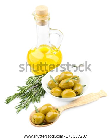 Tasty olives and oil isolated on white