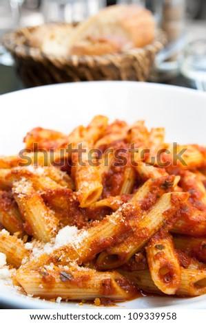 tasty pasta-Italian meat sauce pasta on the table - stock photo