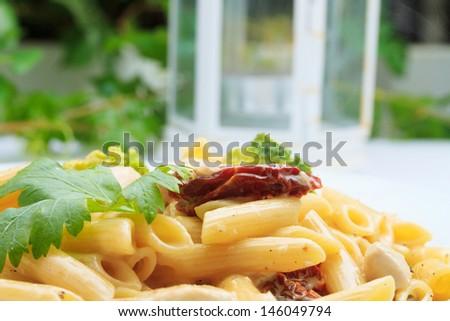 tasty pasta-Italian on the restaurant table - stock photo