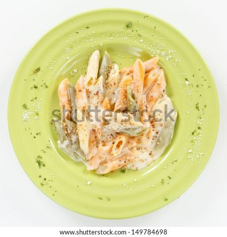 tasty pasta with cream - stock photo