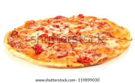 Tasty pepperoni pizza isolated on white - stock photo