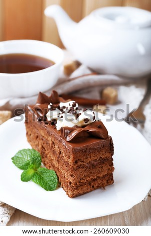 Tasty piece of chocolate cake with mint and cinnamon on wooden table and blurred planks background - stock photo