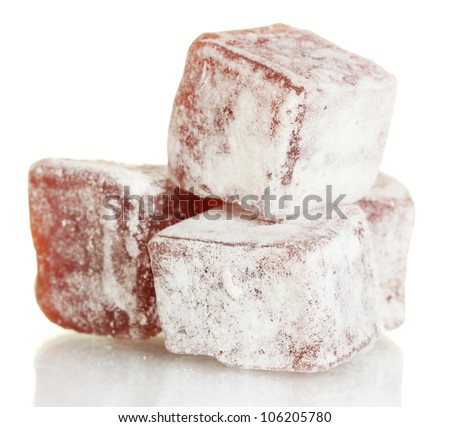tasty pieces of turkish delight isolated on white