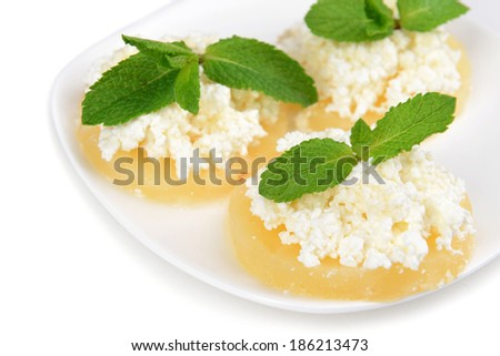 Tasty pineapple with cottage cheese, isolated on white