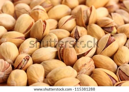 tasty pistachio nuts, close up - stock photo