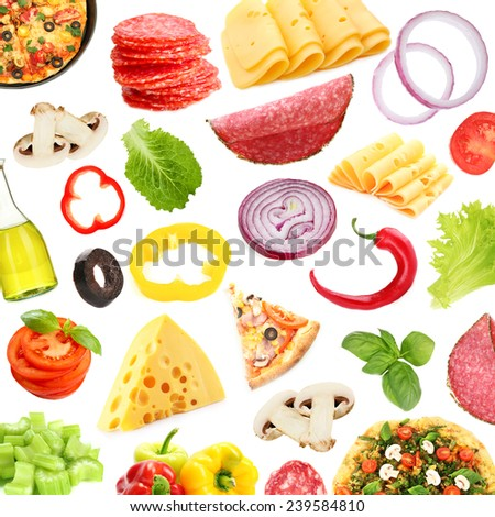Tasty pizza and ingredients isolated on white - stock photo
