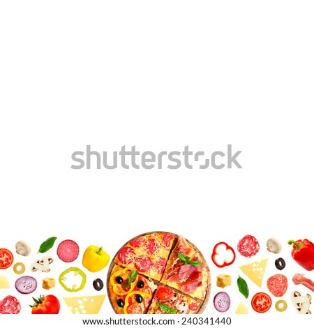 Tasty pizza and ingredients isolated on white with space for text - stock photo