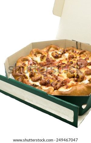 tasty pizza in the box isolated on white background