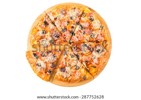 Tasty pizza on a wooden board, isolated on white background