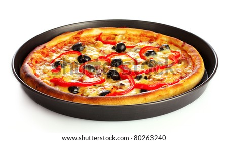 tasty pizza on plate isolated on white - stock photo