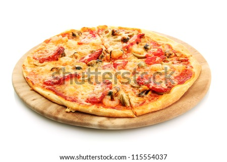 tasty pizza on the cutting board isolated on white