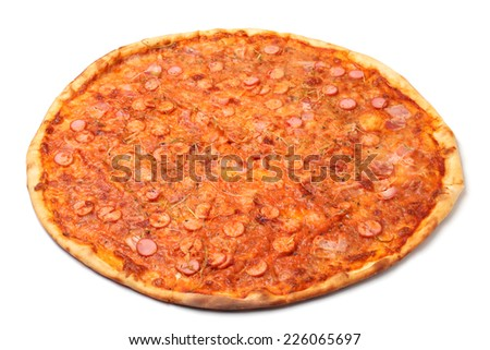 Tasty pizza on white background