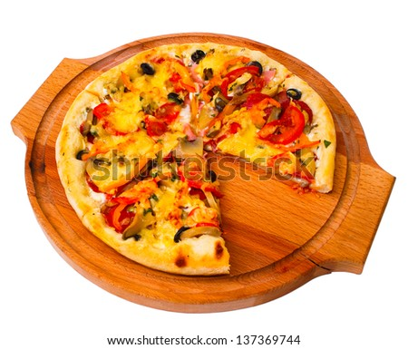 tasty pizza with cheese on wooden tray close up white background clipping path - stock photo