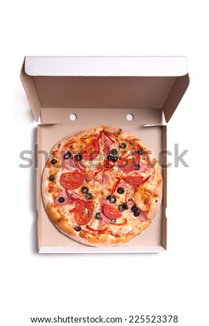 Tasty pizza with ham and tomatoes in box, isolated on white background  - stock photo