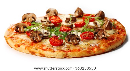 Tasty pizza with mushrooms and tomatoes isolated on white background - stock photo