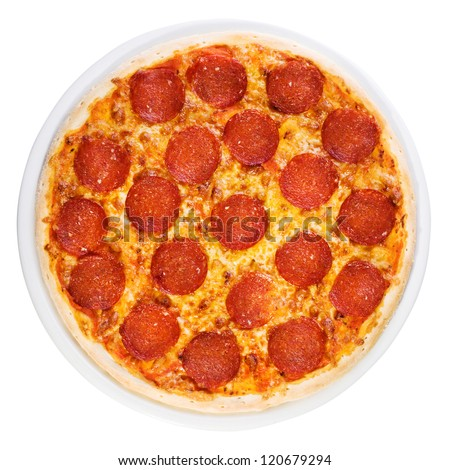 Tasty  pizza with sausage  from the top on white background - stock photo