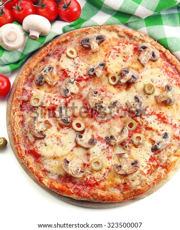 Tasty pizza with vegetables and napkin close up