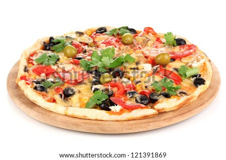 Tasty pizza with vegetables, chicken and olives isolated on white