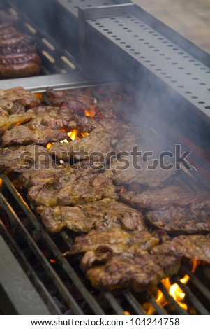 Tasty pork on a barbecue