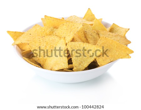 tasty potato chips in bowl isolated on white