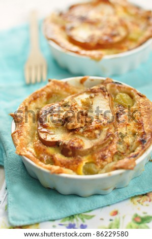 tasty quiche with pear and cheese - stock photo