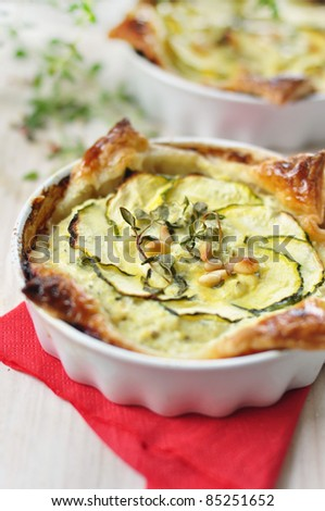 tasty quiche with  zucchini