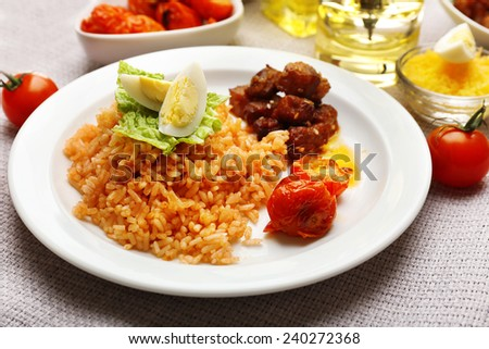 Tasty rice served on table, close-up
