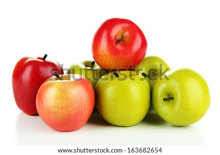 Tasty ripe apples isolated on white - stock photo