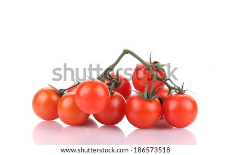 Tasty ripe tomatoes-cherry. Isolated on a white background. - stock photo